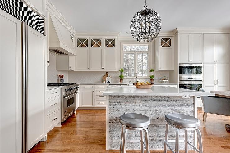 Kitchen With Dark Stained Herringbone Floor