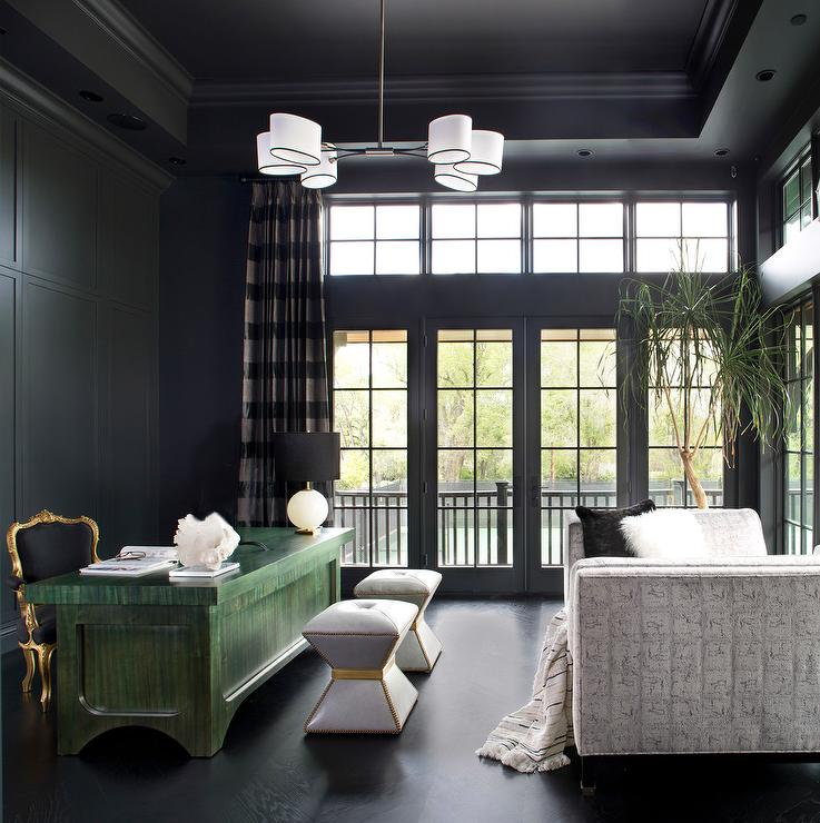 Black Ceiling Coffers Transitional Den Library Office