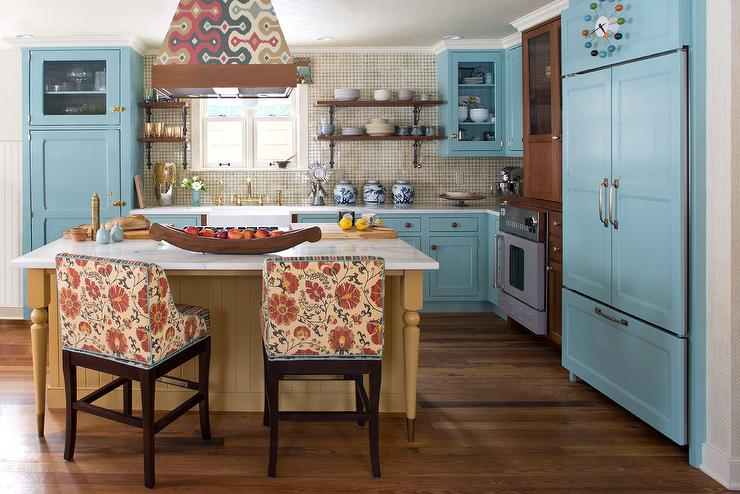 Decorpad & Country Blue Kitchen Cabinets with Farmhouse Sink - Eclectic ...
