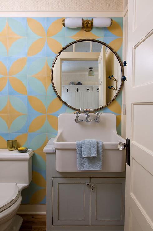 Gray Sink Vanity With Apron Sink Transitional Bathroom