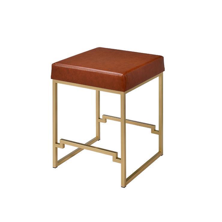 Groovy Square Geometric Brass Leather Backless Stool Machost Co Dining Chair Design Ideas Machostcouk