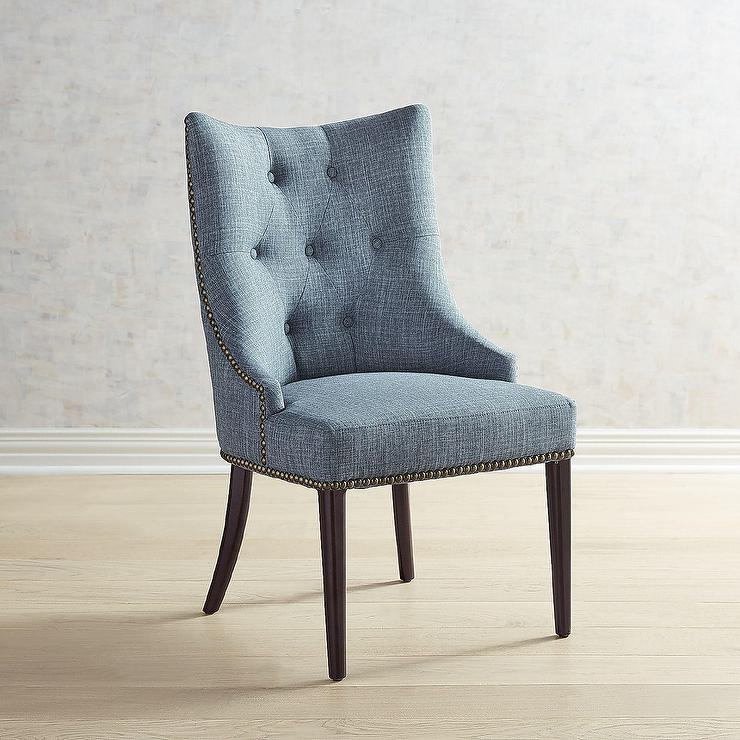 Super Jocelyn Curved Blue Tufted Linen Dining Chair Bralicious Painted Fabric Chair Ideas Braliciousco