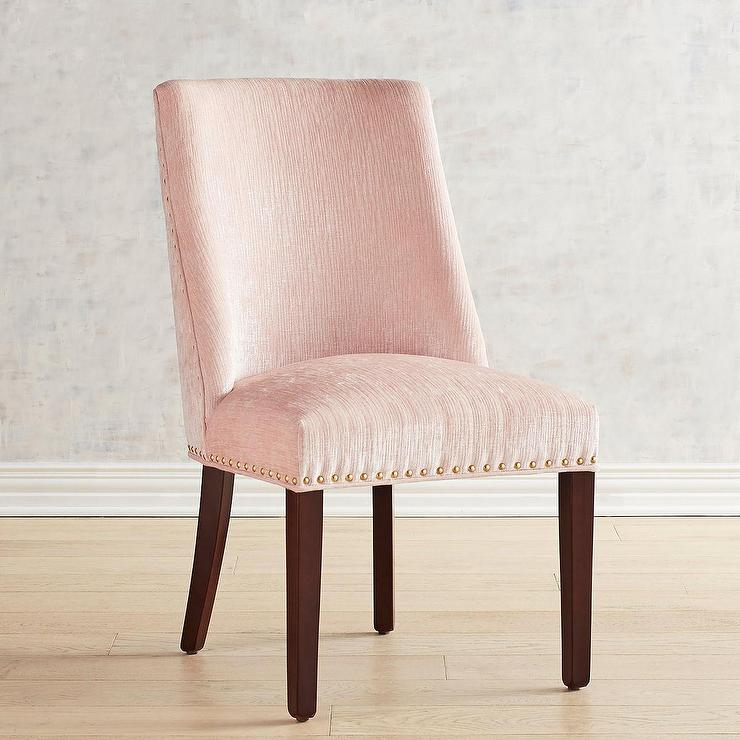 Haverhill Blush Velvet Wooden Arm Chair