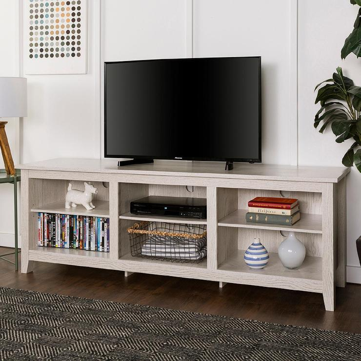 white wood open storage tv stand - Distressed White Tv Stands