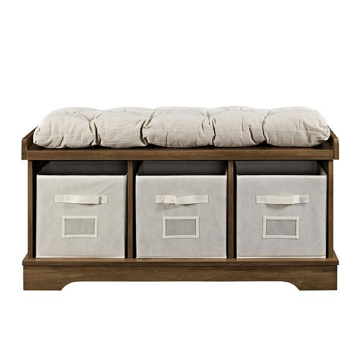 Pleasant Rustic Oak Wood Totes Storage Bench Short Links Chair Design For Home Short Linksinfo