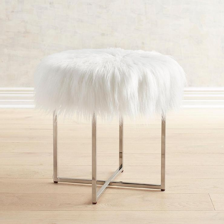 Incredible Patton White Fur Nickel Vanity Stool Dailytribune Chair Design For Home Dailytribuneorg