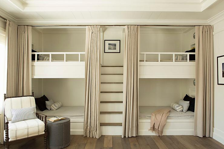 Built In Bunk Beds With Beige Privacy Curtains Transitional