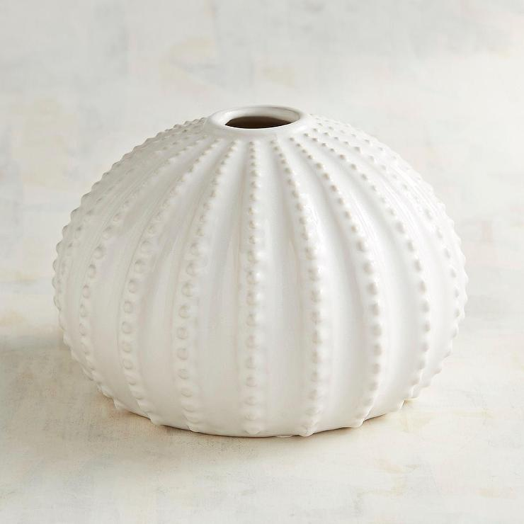 Short Textured White Urchin Ceramic Vase
