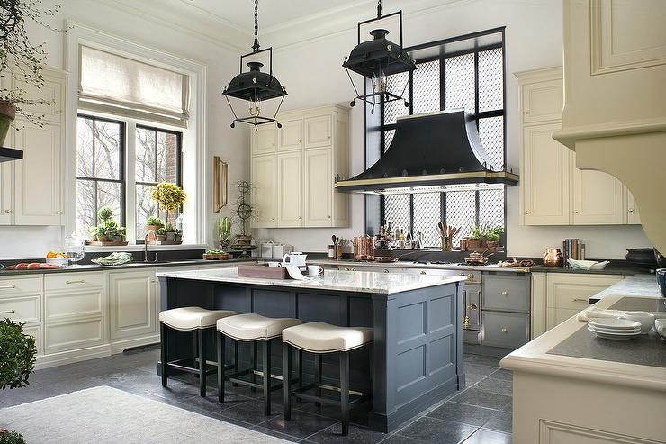 Blue Kitchen Island With Carriage Lanterns Transitional Kitchen