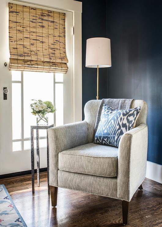 Dark Gray Velvet Chair On Brass Base Contemporary Bedroom