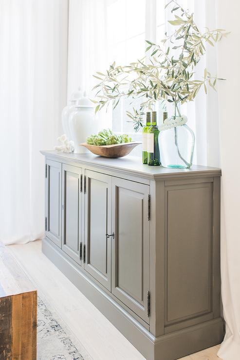 Dark Gray Buffet Cabinet With White, Dining Room Buffet Cabinet