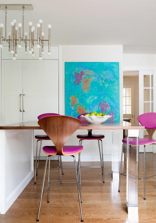 Blue And Pink Abstract Kitchen Art Design Ideas