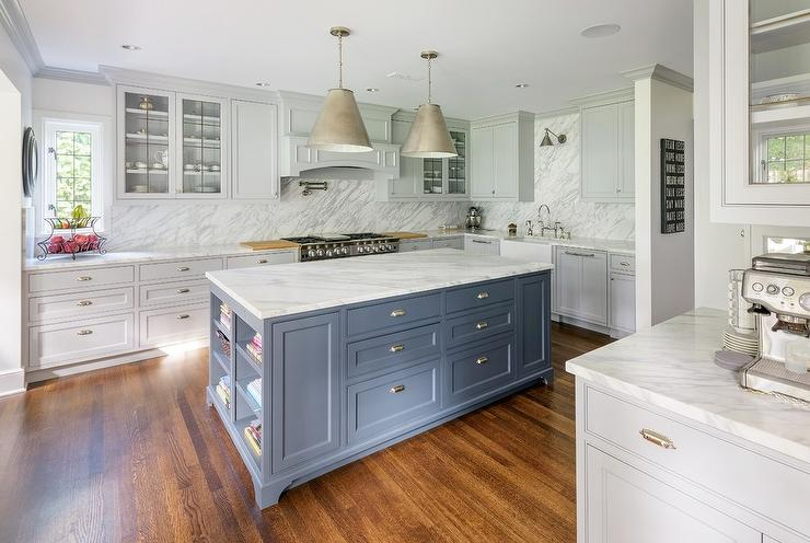 Light Gray Kitchen Cabinets With White Square Backsplash