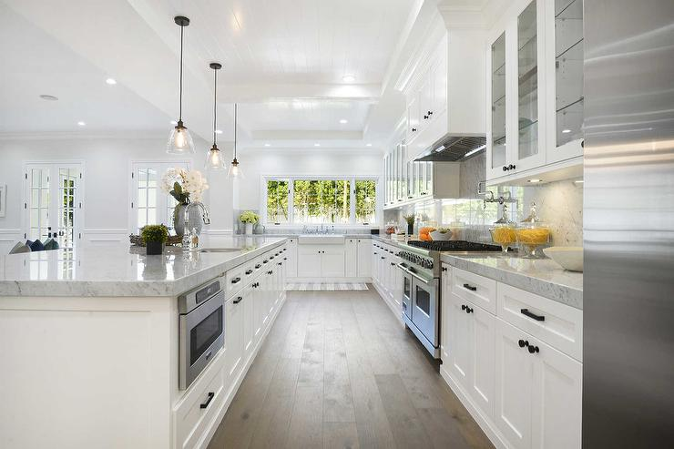 Wide Plank Kitchen Floors with White Cabinets - Transitional ...