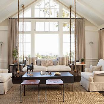 Brown Sofa With White Accent Chairs Transitional