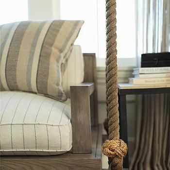 Oak And Rope Hanging Sofa