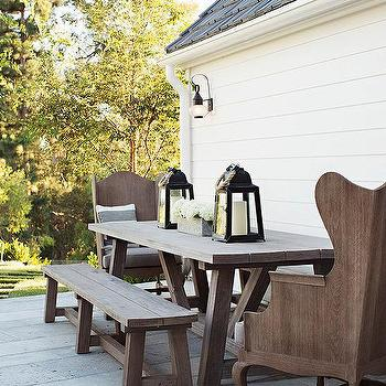 Outdoor Wood Trestle Dining Table With Wood Wingback Chairs
