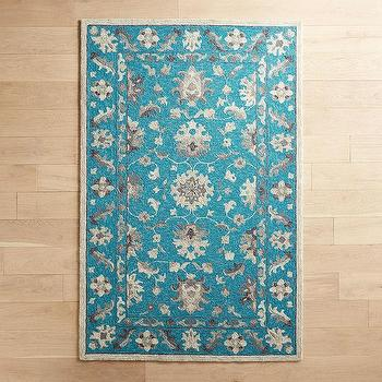 Modern Turquoise Floral Rug - Products