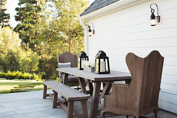 Outdoor Wood Trestle Dining Table With Wood Wingback