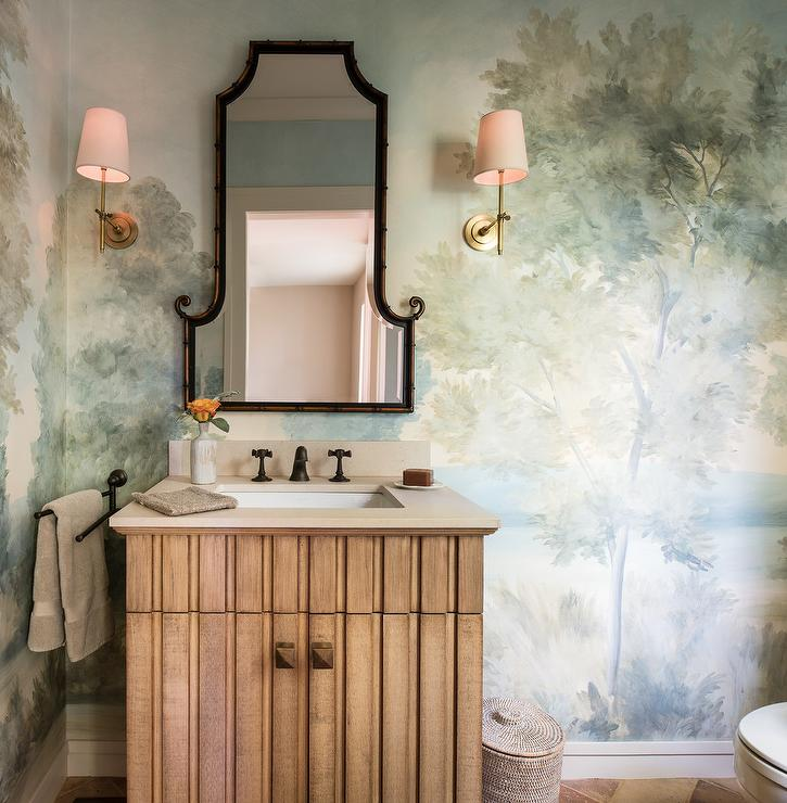 Powder Room With Hand Painted Wallpaper