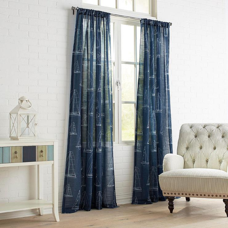 Sail Away Navy White Sheer Curtain