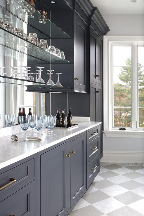 Blue Bar Cabinets with Floating Glass Shelves - Transitional ...