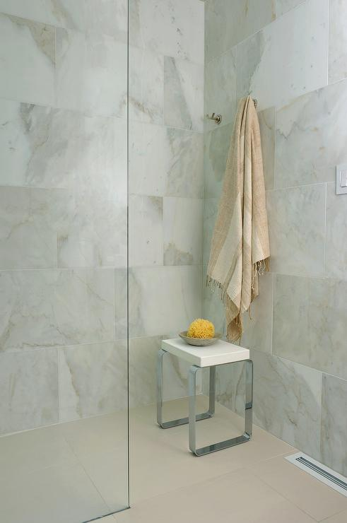 Large White And Gray Stone Shower Tiles - Transitional - Bathroom