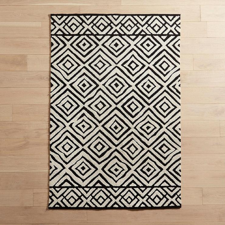 Famous Geometric Black White Tribal Pattern Rug SS78