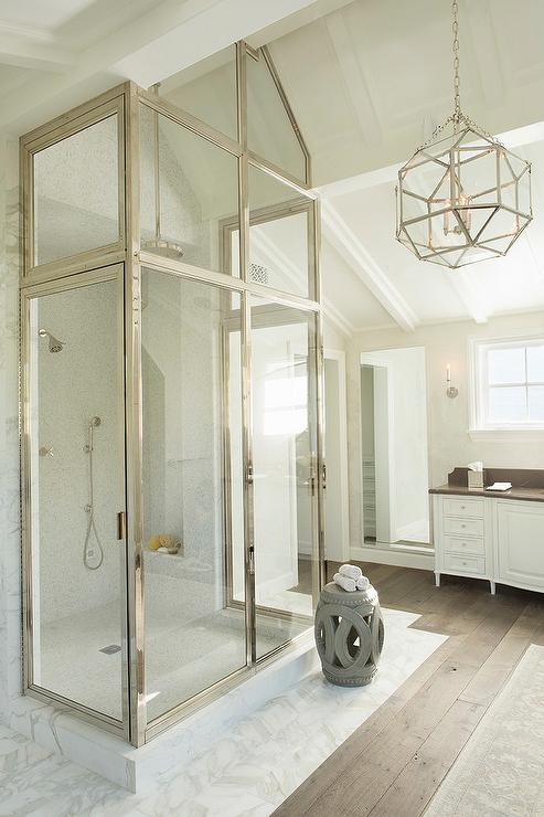 Walk In Shower Under Vaulted Ceiling Transitional Bathroom