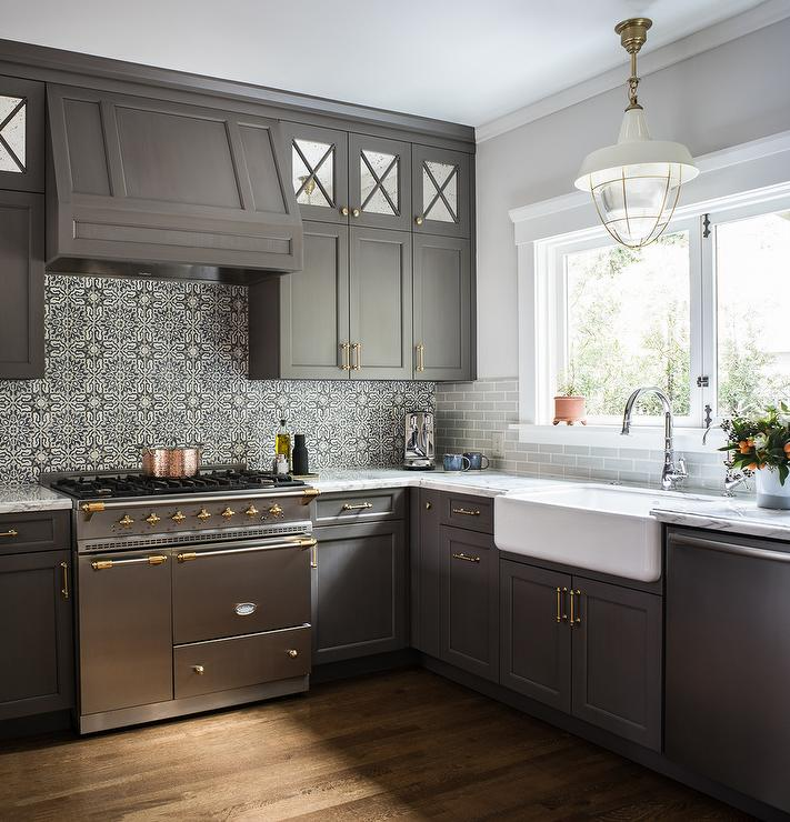 White And Black Moroccan Mosaic Backsplash Tiles Transitional Kitchen