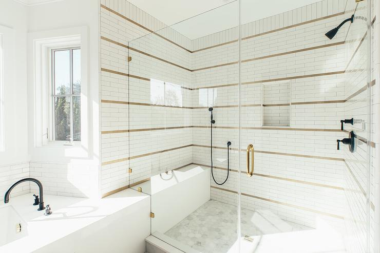 White Shower Tiles With Brass Schluter Strips