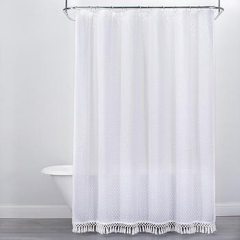 Opalhouse Textured Dot Fringed Shower Curtain White View Full Size