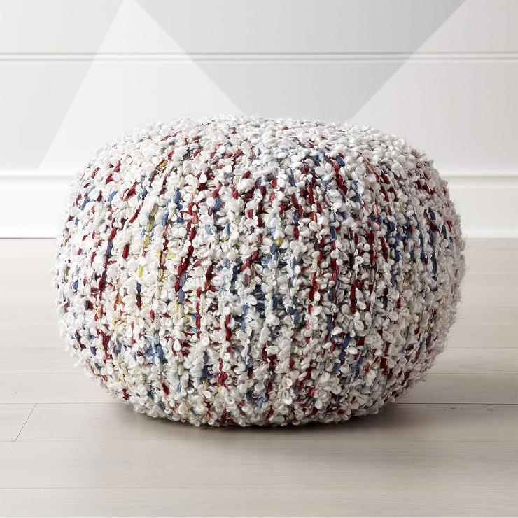 Knit Multicolor Shag Yarn Pouf