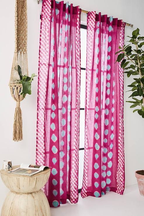 Bandi Magenta Blue Dotted Cotton Curtain