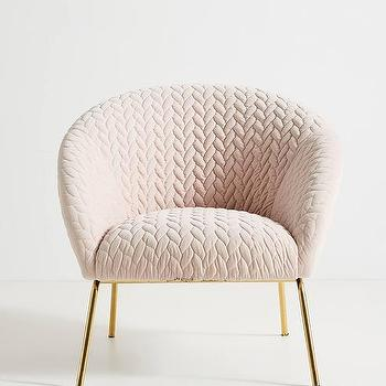 Hillside Quilted Pink Curved Brass Accent Chair