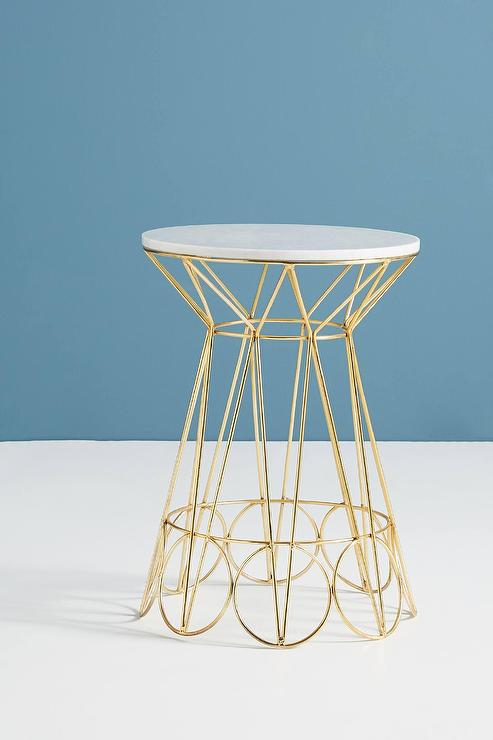 Cassia Round Geometric Brass Marble Side Table