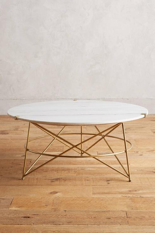 Betelline Round Marble Brass Coffee Table