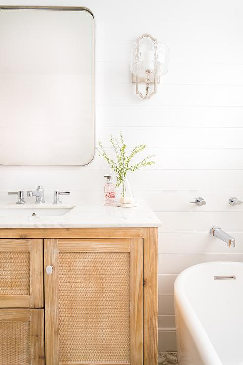 Cane Cabinet Doors On Light Wood Washstand Transitional