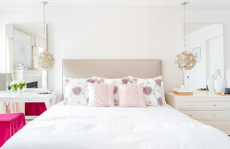 Capiz chandeliers over nightstands transitional bedroom capiz chandeliers over nightstands aloadofball Choice Image