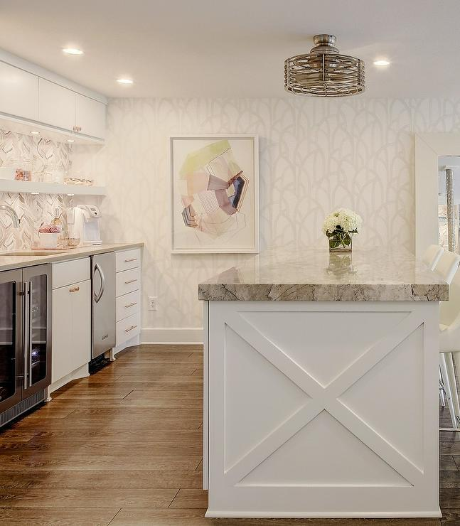 White And Gray Trellis Kitchen Wallpaper Transitional Kitchen