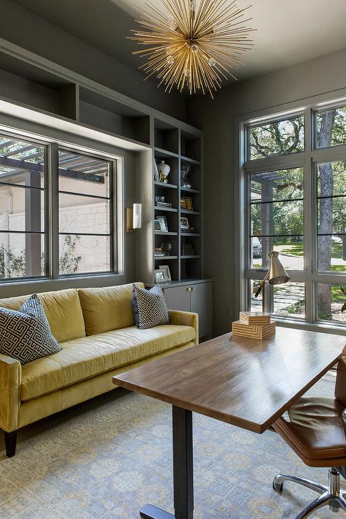 Painted Coffered Ceiling Transitional Den Library
