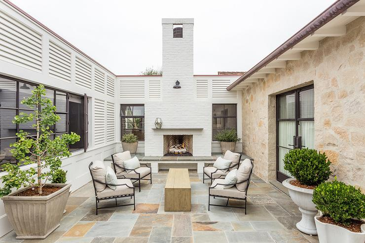Wrought Iron Chairs with Flagstone Pavers Transitional Deckpatio