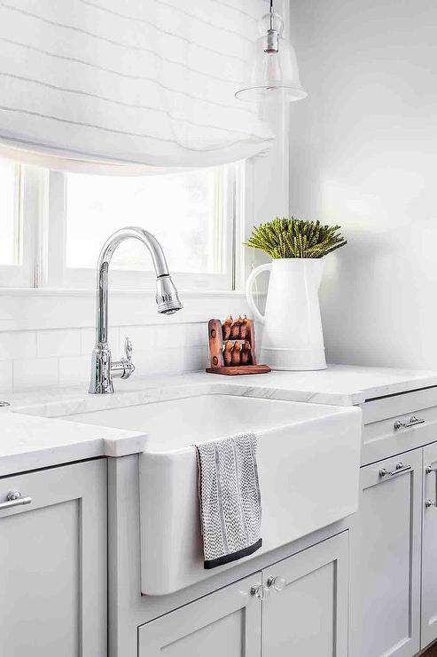 Light Gray Shaker Cabinets With Glass Knobs Transitional Kitchen