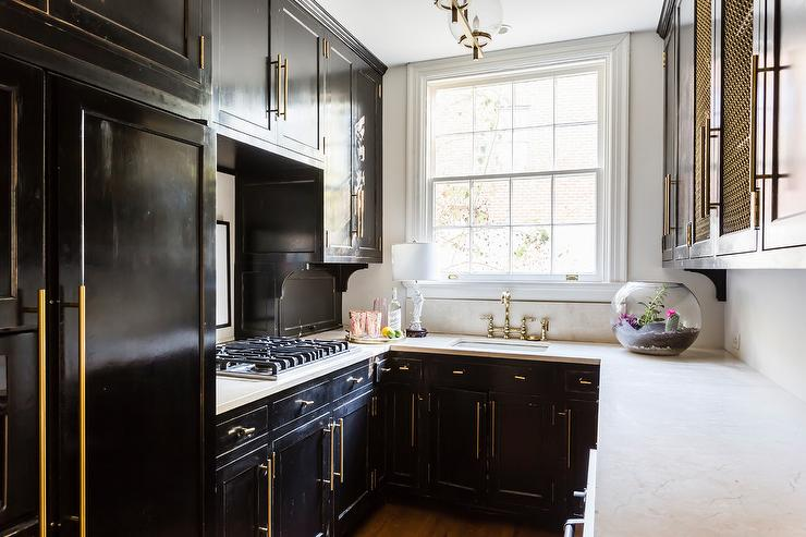 Small Black Kitchen With Brass Hardware Contemporary Kitchen
