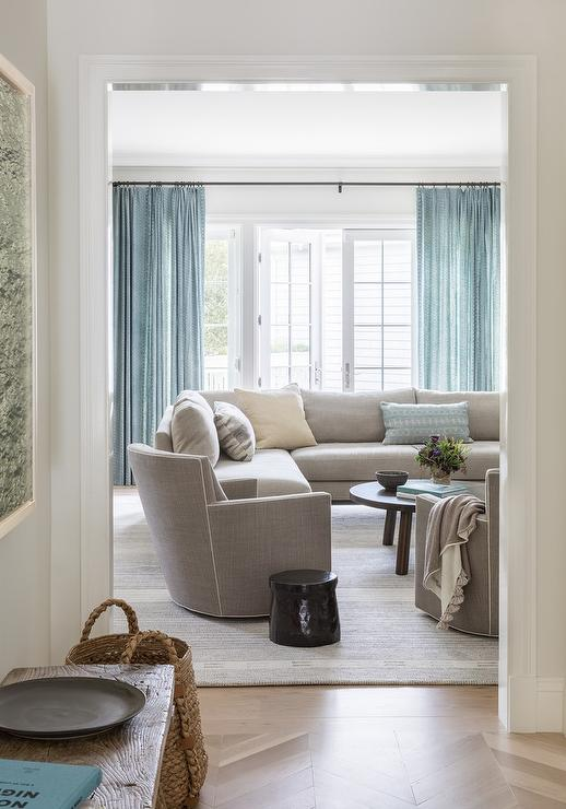 Light Blue Curtains Living Room.Light Gray Sectional With Blue Curtains Transitional