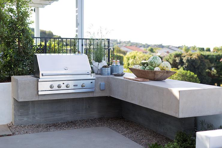 Gray Wood and Concrete Outdoor Kitchen - Transitional - Deck ...