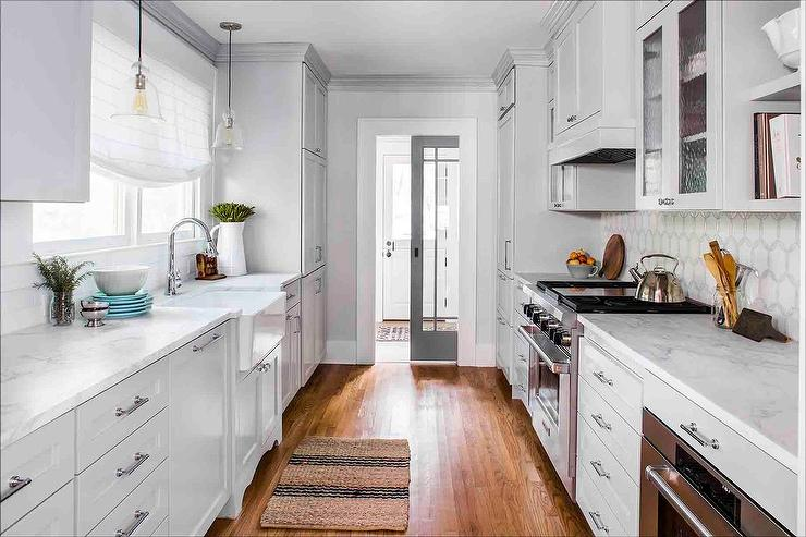 light gray galley style kitchen with farmhouse sink - Galley Style Kitchen