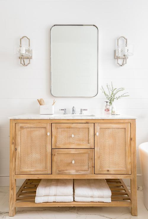 Merveilleux Light Wood Bath Vanity With Cane Cabinet Doors