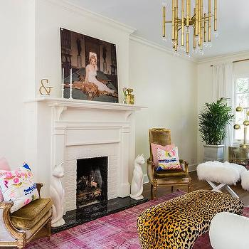 Living Room Leopard Print Bench Design Ideas