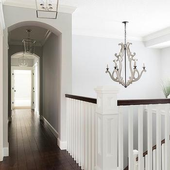 Gray Wood Staircase Chandelier